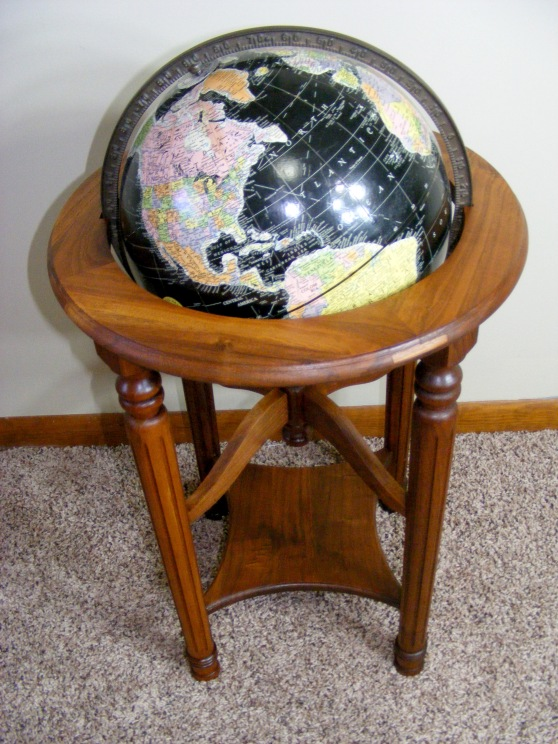 black ocean globe & stand