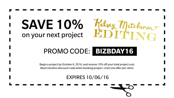 editing coupon and discount code | Kelsey Mitchener Editing