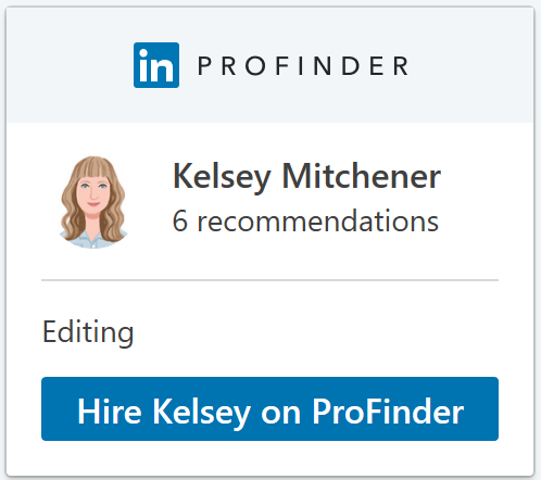 Kelsey Mitchener Editing on LinkedIn ProFinder - Colorado Springs, Colorado, freelance editor